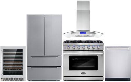 """Cosmo COS-5PKG-091 5-Piece Kitchen Appliances Package with COS-EPGR366 36"""" Freestanding Gas Range  COS-668AS900 36"""" Wall Mount Range Hood  COS-DIS6502 24"""""""