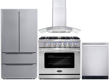 """Cosmo COS-4PKG-129 4-Piece Kitchen Appliances Package with COS-EPGR366 36"""" Freestanding Gas Range  COS-668WRC90 36"""" Wall Mount Range Hood  COS-DIS6502 24"""""""