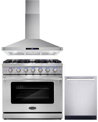 """Cosmo COS-3PKG-038 3-Piece Kitchen Appliances Package with COS-EPGR366 36"""" Freestanding Gas Range  COS-63190S 36"""" Wall Mount Range Hood and COS-DIS6502 24"""""""
