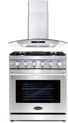 """Cosmo COS-2PKG-073 2 Piece Kitchen Appliances Package with COS-EPGR304 30"""" Freestanding Gas Range and COS-668WRCS75 30"""" Wall Mount Range Hood in Stainless"""