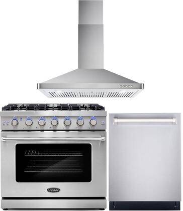 """Cosmo COS-3PKG-032 3-Piece Kitchen Appliances Package with COS-EPGR366 36"""" Freestanding Gas Range  COS-63190 36"""" Wall Mount Range Hood and COS-DIS6502 24"""""""