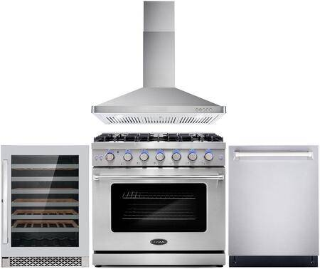 """Cosmo COS-4PKG-107 4-Piece Kitchen Appliances Package with COS-EPGR366 36"""" Freestanding Gas Range  COS-63190 36"""" Wall Mount Range Hood  COS-DIS6502 24"""""""