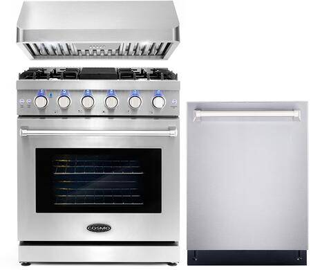 """Cosmo COS-3PKG-016 3-Piece Kitchen Appliances Package with COS-EPGR304 30"""" Freestanding Gas Range  COS-QB75 30"""" Under Cabinet Range Hood and COS-DIS6502"""