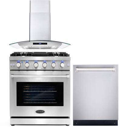 """Cosmo COS-3PKG-022 3-Piece Kitchen Appliances Package with COS-EPGR304 30"""" Freestanding Gas Range  COS-668AS750 30"""" Wall Mount Range Hood and COS-DIS6502"""
