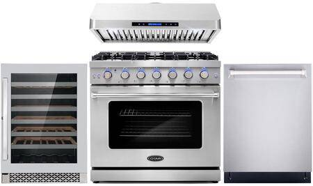 """Cosmo COS-4PKG-105 4-Piece Kitchen Appliances Package with COS-EPGR366 36"""" Freestanding Gas Range  COS-QS90 36"""" Under Cabinet Range Hood  COS-DIS6502 24"""""""