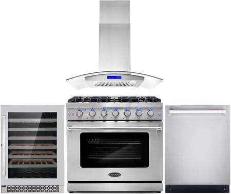 """Cosmo COS-4PKG-117 4-Piece Kitchen Appliances Package with COS-EPGR366 36"""" Freestanding Gas Range  COS-668ICS900 36"""" Island Mount Range Hood  COS-DIS6502"""