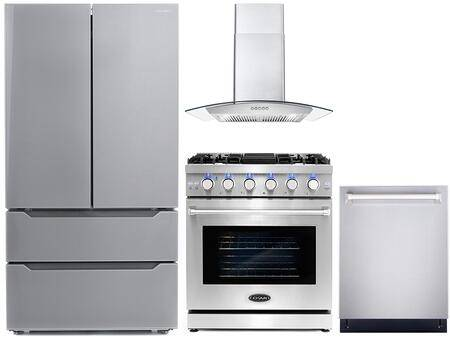 """Cosmo COS-4PKG-095 4-Piece Kitchen Appliances Package with COS-EPGR304 30"""" Freestanding Gas Range  COS-668A750 30"""" Wall Mount Range Hood  COS-DIS6502 24"""""""