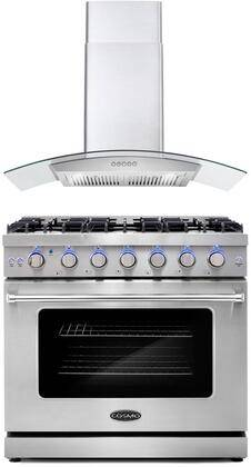 """Cosmo COS-2PKG-084 2-Piece Kitchen Appliances Package with COS-EPGR366 36"""" Freestanding Gas Range and COS-668WRC90 36"""" Wall Mount Range Hood in Stainless"""