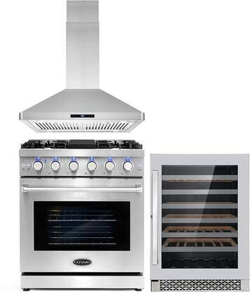 """Cosmo COS-3PKG-027 3-Piece Kitchen Appliances Package with COS-EPGR304 30"""" Freestanding Gas Range  COS-63ISS75 30"""" Island Range Hood and and COS-24BIWCS"""
