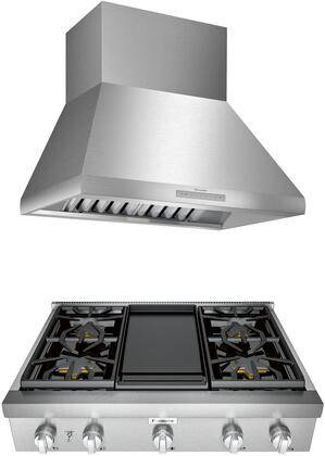"""Thermador 2 Piece Kitchen Appliances Package with PCG364WD 36"""" Gas Rangetop and HPCN36WS 36"""" Pro Style Wall Mount Ducted Hood in Stainless"""