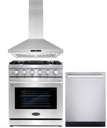 """Cosmo COS-3PKG-026 3-Piece Kitchen Appliances Package with COS-EPGR304 30"""" Freestanding Gas Range  COS-63ISS75 30"""" Island Mount Range Hood and COS-DIS6502"""