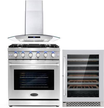 """Cosmo COS-3PKG-023 3-Piece Kitchen Appliances Package with COS-EPGR304 30"""" Freestanding Gas Range  COS-668AS750 30"""" Wall Mount Range Hood and and"""