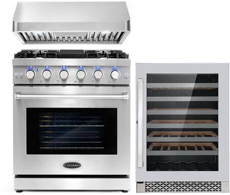 """Cosmo COS-3PKG-017 3-Piece Kitchen Appliances Package with COS-EPGR304 30"""" Freestanding Gas Range  COS-QB75 30"""" Under Cabinet Range Hood and and"""