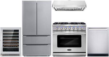 """Cosmo COS-5PKG-087 5-Piece Kitchen Appliances Package with COS-EPGR366 36"""" Freestanding Gas Range  COS-63190 36"""" Wall Mount Range Hood  COS-DIS6502 24"""""""