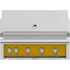 """Hestan GMBR42LPYW 42"""" BuiltIn Liquid Propane Gas Grill With 4 Trellis And Sear Burners  Rotisserie  774 Sq. In. Grilling Surface  Horizon Hood  Warming Rack"""