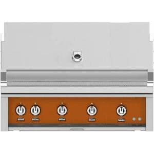 """Hestan GMBR42NGOR 42"""" BuiltIn Natural Gas Grill With 4 Trellis And Sear Burners  Rotisserie  774 Sq. In. Grilling Surface  Horizon Hood  Warming Rack  ETL"""