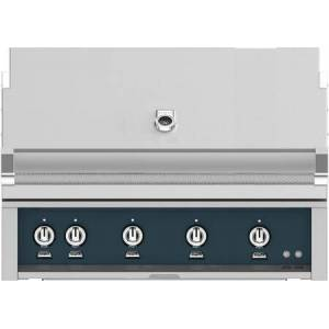 """Hestan GMBR42NGGG 42"""" BuiltIn Natural Gas Grill With 4 Trellis And Sear Burners  Rotisserie  774 Sq. In. Grilling Surface  Horizon Hood  Warming Rack  ETL"""