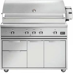 """DCS BE1-48RC-L 48"""" Series 9 Evolution Freestanding Liquid Propane Gas Grill with 4 U-Burners  Infrared Rotisserie  Charcoal Smoker Tray  and Temperature"""