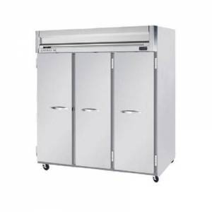 """Beverage-Air HF3-5S 78"""" Horizon Series Three Section Solid Door Reach-In Freezer  74 cu.ft. capacity  Stainless Steel Front  Gray Painted Sides  Aluminum"""