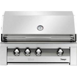 """Vintage VBQ36G-L 36"""" Gold Built In Grill With 924 Sq. Inches Total Grilling Area  3 18SR Stainless Steel Burners  15 000 BTU Infrared Rotisserie Burner  27"""