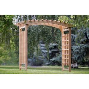 """All Things Cedar PA106 87"""" Pagoda Wedding Arbor with Lattice Sides  Western Red Cedar Construction  Sanded Finish and Hand"""