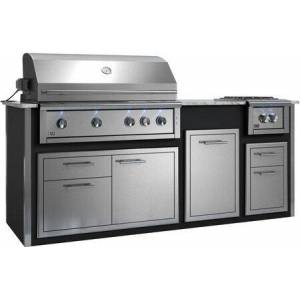 """XOGOK42V1BL 94"""" Appliance Ready Pre-Assembled Designer Island with XOGRILL42N 42"""" Built-In Natural Gas Grill XOGPOWER60KN 16"""" Side Burner  XOG42COMBO"""