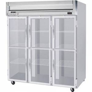 """Beverage-Air HFS3-5HG 78"""" Horizon Series Three Section Glass Half Door Reach-In Freezer  74 cu.ft. Capacity  Stainless Steel Front  Gray Painted Sides and"""