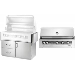 """Vintage VBQ42G-N 42"""" Freestanding Natural Gas Grill  770 Square Inch Grilling Area  Smoker Burner And Rotisserie Burner  9V Precision Fire Electronic"""