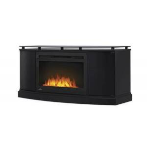 """Napoleon Essential Series NEFP27-3116B 53"""" Anya Mantel Package with Cinema Glass 27"""" Fireplace Insert Included  10mm Smoked Top Glass  Media Compartment and"""