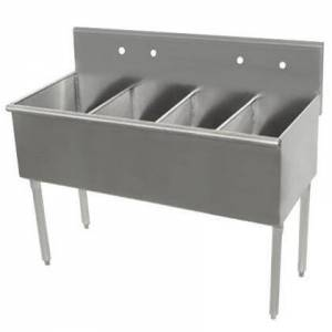 """Advance Tabco 6-4-48-2X Budget Line 600 Series Four-Compartment 48"""" Scullery Sink (Minimum Order of 7"""