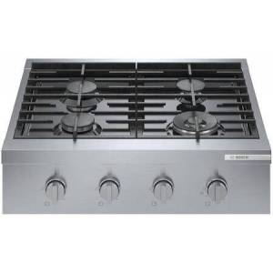 """Bosch RGM8058UC 30"""" 800 Series Stainless Steel Industrial-Style Gas Rangetop with Dual Flame Ring Power Burner  Dishwasher Safe Grates and Porcelain"""