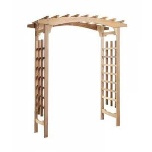 """All Things Cedar PA96 87"""" Pagoda Arbor with Lattice Sides  Western Red Cedar Construction  Sanded Finish and Hand"""