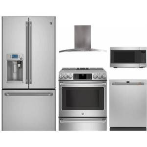 """Cafe 5-Piece Kitchen Package with CYE22USHSS 36"""" Smart French Door Regfrigerator  CHS985SELSS 30"""" Smart Slide In Electric Range  PV970NSS 30"""" Wall Mount"""