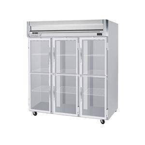 """Beverage-Air HF3-5HG 78"""" Horizon Series Three Section Glass Half Door Reach-In Freezer  74 cu.ft. capacity  Stainless Steel Front  Gray Painted Sides  Aluminum"""