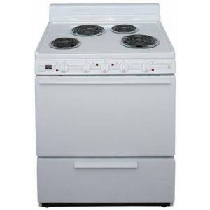 """Premier EDKL0HOP White 30"""" Electric Range Special Model for Elderly with 3.9 Cu. Ft. Capacity  4 Coil Elements  4"""" Porcelain Backguard  Lift Top with Rod and"""