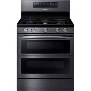 """Samsung NX58K7850SG 30"""" Freestanding Gas Range with 5.8 cu. ft. Oven Capacity  Flex Duo convection fans  Soft Close Dual oven door  Self-cleaning and Wi-Fi"""