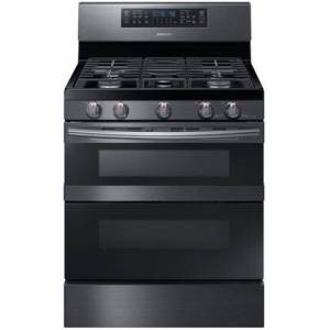 """Samsung NX58M6850SG 30"""" Freestanding Gas Range with 5.8 cu. ft. Capacity  Flex Duo  5 Burners  and Soft Close Door  in Black Stainless"""