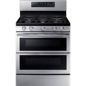 """Samsung NX58K7850SS 30"""" Freestanding Gas Range with 5.8 cu. ft. Oven Capacity  Flex Duo convection fans  Soft Close Dual oven door  Self-cleaning and Wi-Fi"""