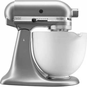 KitchenAid KSM150PSCU Artisan Tilt-Head Stand Mixer 5 Quarts Stainless Steel  Bowl  10 Speeds  Pouring Shield  Coated Cough Hook  Flat Beater  in Contour