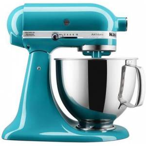 KitchenAid KSM150PSON Artisan Tilt-Head Stand Mixer 5 Quarts Stainless Steel  Bowl  10 Speeds  Pouring Shield  Coated Cough Hook  Flat Beater  in Ocean