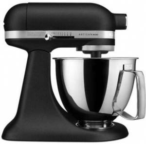 KitchenAid KSM3316XBK Artisan Mini Tilt Head Stand Mixer with 10 Optimized Speeds  Soft Start  Stainless Steel Bowl Finish  and 10 Different Attachements  in