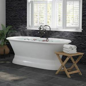 """Cambridge DE66-PED-463D-6-PKG-ORB-DH 66"""" Cast Iron Dual Ended Pedestal Bathtub With Deckmount Faucet Drillings Complete Plumbing Package In Oil Rubbed"""