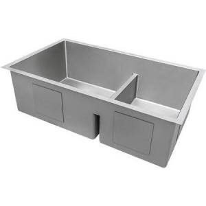 """Gravena Collection 33"""" 60/40 Double Bowl Low-Divide Kitchen Sink with 16 Gauge Premium T-304 Grade Stainless Steel  3.5"""" Drain Opening  Tight Radius"""