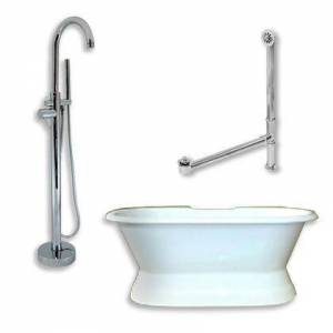 """Cambridge DES-PED-150-PKG-CP-NH Cast Iron Double Ended Slipper Tub 71"""" x 30"""" with no Faucet Drillings and Complete Polished Chrome Modern Freestanding Tub"""