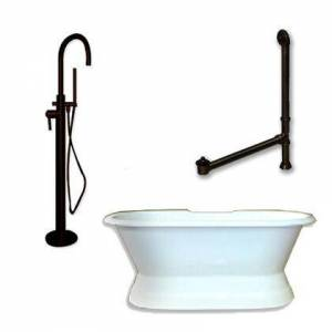 """Cambridge DES-PED-150-PKG-ORB-NH Cast Iron Double Ended Slipper Tub 71"""" x 30"""" with no Faucet Drillings and Complete Oil Rubbed Bronze Modern Freestanding Tub"""