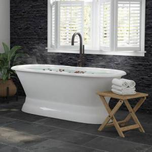 """Cambridge DE66-PED-150-PKG-ORB-NH 6"""" Cast Iron Dual Ended Pedestal Bathtub With No Faucet Drillings & Complete Plumbing Package In Oil Rubbed"""