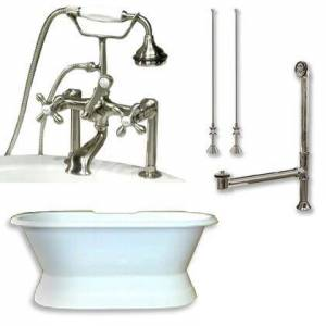 """Cambridge DES-PED-463D-6-PKG-BN-7DH Cast Iron Double Ended Slipper Tub 71"""" x 30"""" with 7"""" Deck Mount Faucet Drillings and British Telephone Style Faucet"""