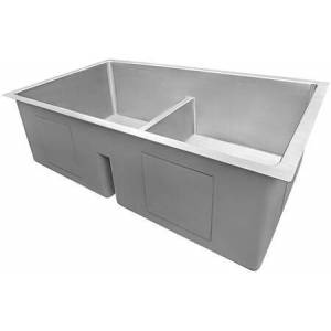 """Gravena Collection 32"""" 50/50 Double Bowl Low-Divide Kitchen Sink with 16 Gauge Premium T-304 Grade Stainless Steel  3.5"""" Drain Opening  Tight Radius"""