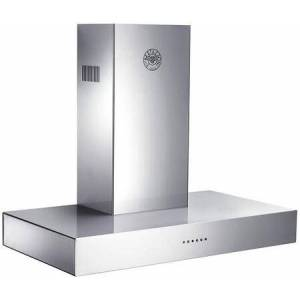 """Bertazzoni K36CONX14 36"""" Wall Mount Range Hood with 600 CFM Internal Blower  Mesh Filter  6"""" Round Vertical Duct and Electronic Controls in Stainless"""