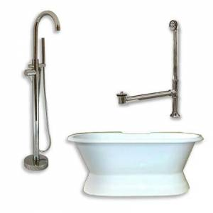 """Cambridge DES-PED-150-PKG-BN-NH Cast Iron Double Ended Slipper Tub 71"""" x 30"""" with no Faucet Drillings and Complete Brushed Nickel Modern Freestanding Tub"""